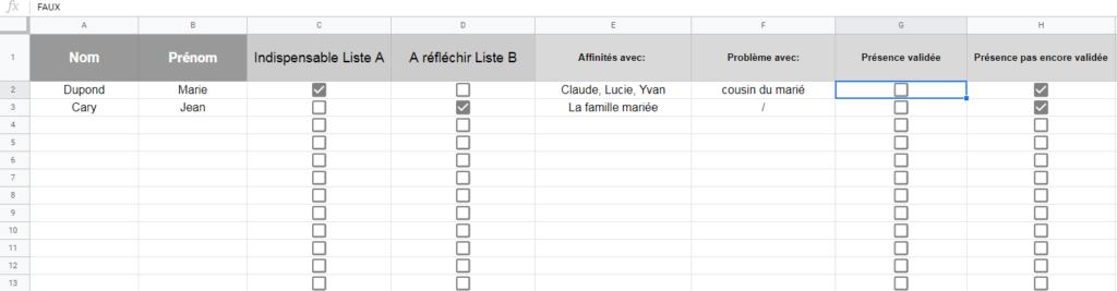 tableau liste d'invités google sheets