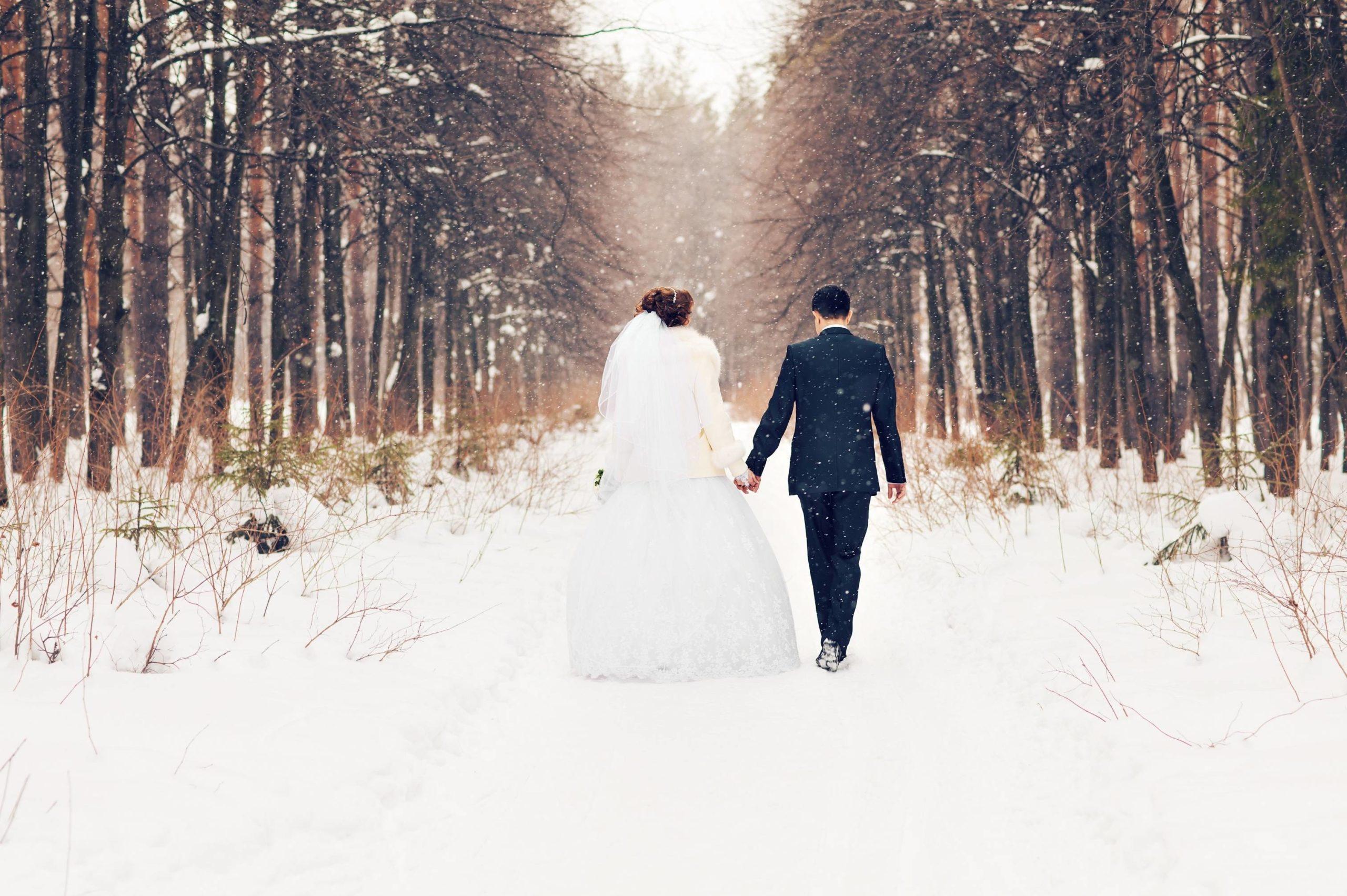 mariage d'hiver dans la neige