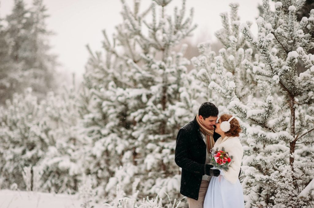 photo de mariage enneigés