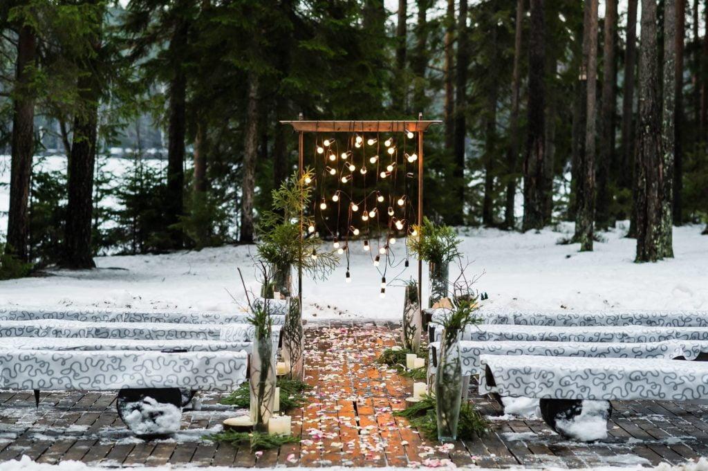 déco de mariage pendant l'hiver