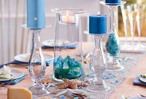 bougies colorees bleu pour deco