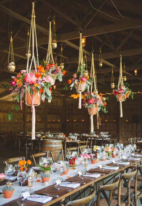 plantes et fleurs suspendues au dessus des tables