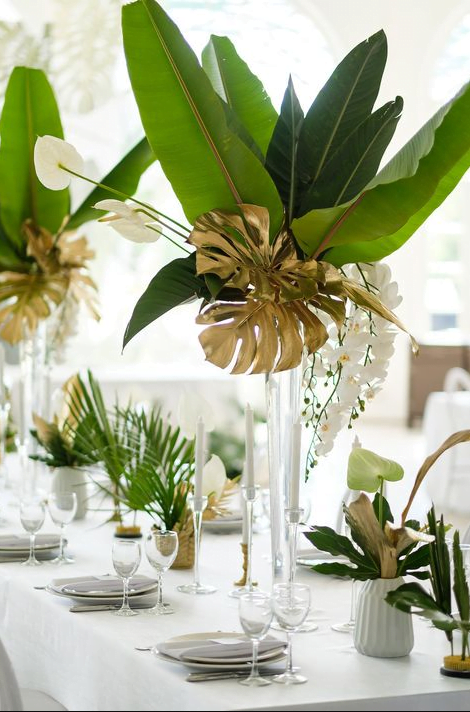 plantes tropicales dans vase en cristal