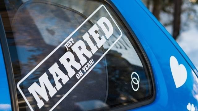 autocollant juste mariés